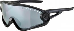 Alpina 5W1NG CM+ Sportbrille (Farbe: 332 all black, Ceramic Mirror, Scheibe: black mirror (S3))